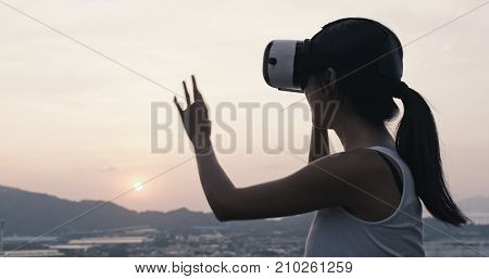 Woman watching with VR device