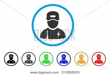 Electrician Boy rounded icon. Style is a flat gray symbol inside light blue circle with additional colored variants. Electrician Boy vector designed for web and software interfaces.