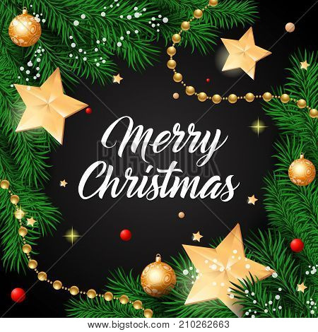 Merry Christmas lettering. Dark background with golden stars and twigs. Handwritten text, calligraphy. Can be used for greeting cards, posters and leaflets