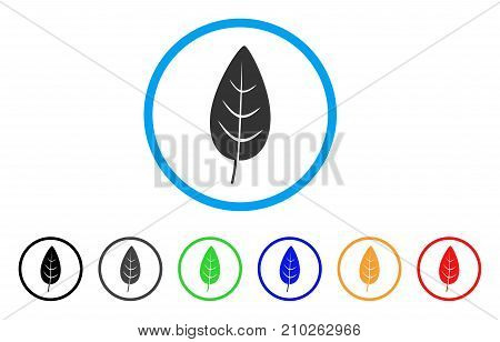 Flora Leaf rounded icon. Style is a flat grey symbol inside light blue circle with additional color versions. Flora Leaf vector designed for web and software interfaces.