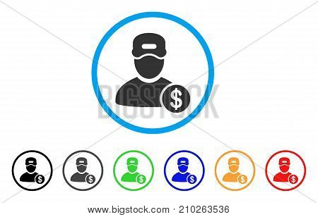 Guy Salary rounded icon. Style is a flat grey symbol inside light blue circle with bonus color variants. Guy Salary vector designed for web and software interfaces.