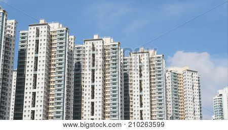 Hong Kong residential building with blue sky