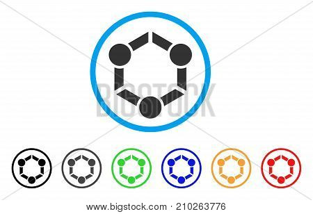 Human Union rounded icon. Style is a flat gray symbol inside light blue circle with bonus colored versions. Human Union vector designed for web and software interfaces.