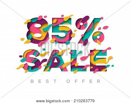 Paper cut sale 85 percent off. 85 discount 3d sign isolated on white background. Vector illustration. Sale symbol, special offer label, sticker tag, banner, advertising badge