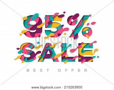 Paper cut sale 95 percent off. 95 discount 3d sign isolated on white background. Vector illustration. Sale symbol, special offer label, sticker tag, banner, advertising badge