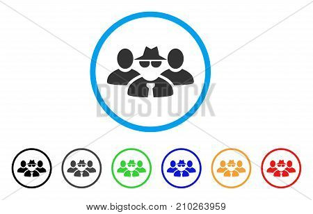 Mafia People Group rounded icon. Style is a flat grey symbol inside light blue circle with additional colored versions. Mafia People Group vector designed for web and software interfaces.