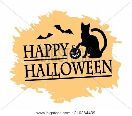 inscription of a happy halloween, silhouette of a black cat and a pumpkin and a background of an orange spot