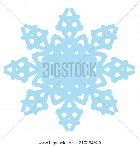 Blue isolated snowflake on the white background. Vector winter symbol.