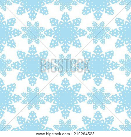 Seamless pattern with little snowflake on the white background. Vector winter background or wrapping paper and other design.