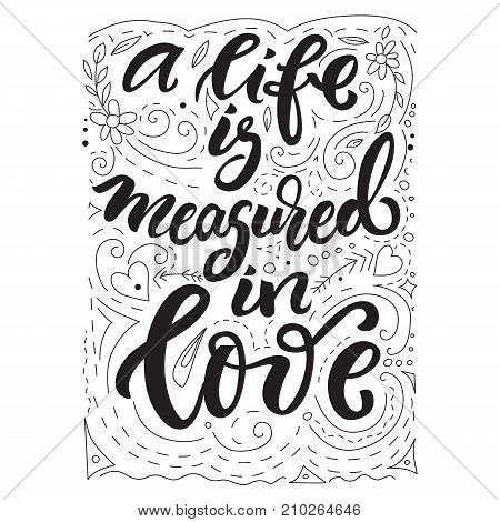 Love theme quote made with lettering and patterns