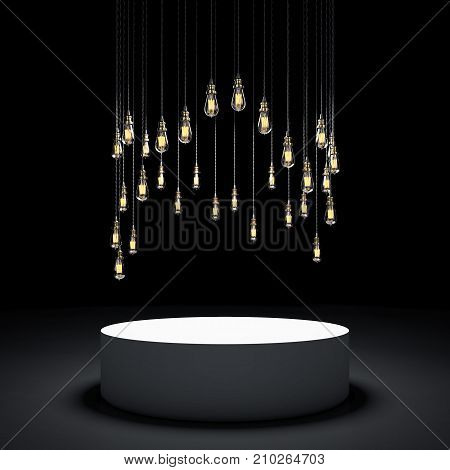 Round showcase with light bulbs. 3d rendering poster