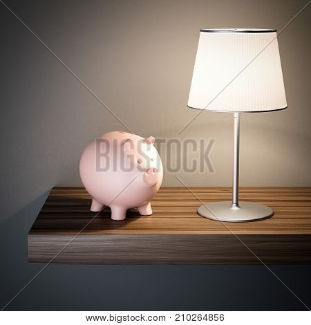 Pink piggy bank on a shelf with lamp. 3d rendering