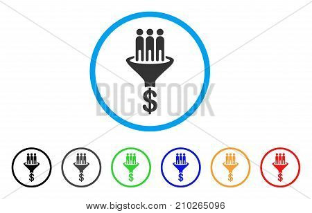 Sales Funnel rounded icon. Style is a flat gray symbol inside light blue circle with additional colored versions. Sales Funnel vector designed for web and software interfaces.