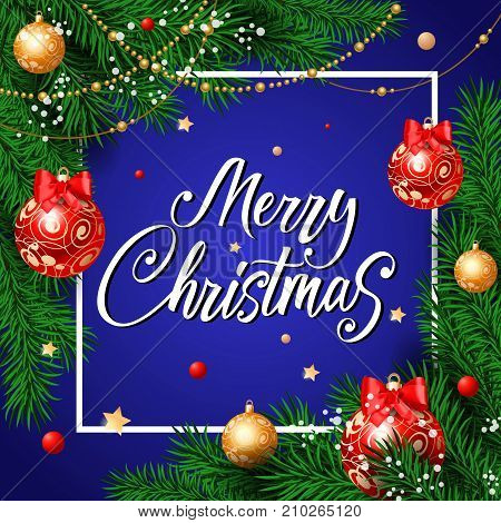 Merry Christmas lettering. Beautiful holiday background decorated with balls and hanging pearls. Handwritten text, calligraphy. Can be used for greeting cards, posters and leaflets