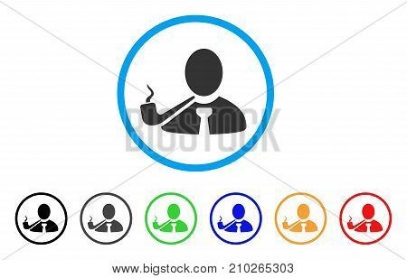 Smoking Detective rounded icon. Style is a flat grey symbol inside light blue circle with bonus color variants. Smoking Detective vector designed for web and software interfaces.