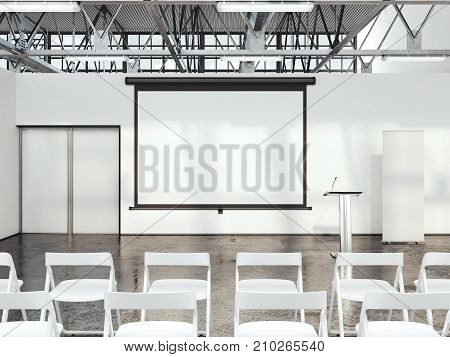Bright lecture room with digital rostrum and big white screen. 3d rendering