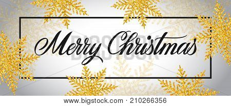 Merry Christmas lettering. Holiday inscription with beautiful snowflakes around. Handwritten text, calligraphy. Can be used for greeting cards, posters and leaflets