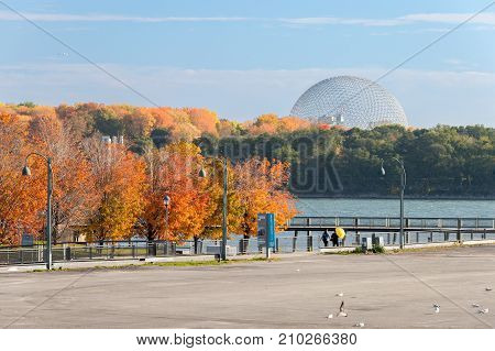 Montreal, Ca - 22 October 2017: Montreal Biosphere, From The Old Port Of Montreal In Fall