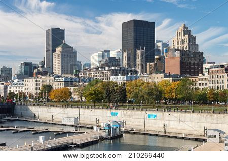 Montreal, Ca - 22 October 2017: Montreal Skyline From The Old Port
