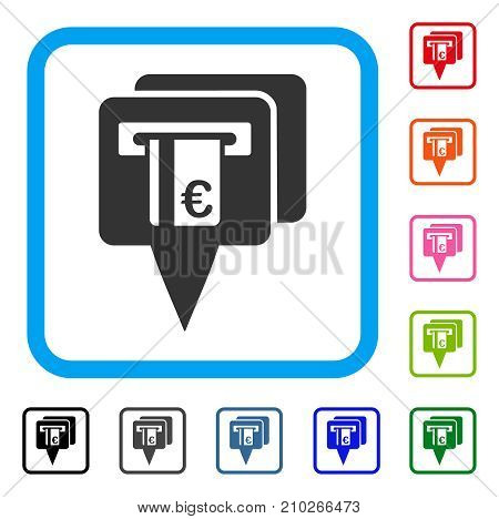 Euro ATM Pointers icon. Flat gray iconic symbol inside a light blue rounded rectangle. Black, gray, green, blue, red, orange color variants of Euro ATM Pointers vector.