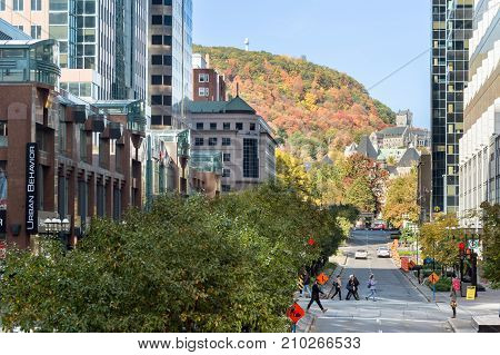 Montreal, Canada - 22 October 2017: Mcgill College Avenue From Place Ville Marie, In Fall, With Mont