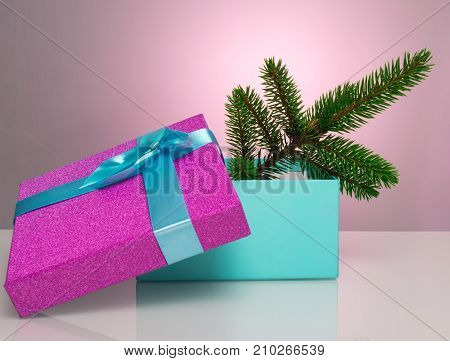 A beautiful gift box in blue, with a purple ribbon and bow. In it lies a branch of a Christmas tree. Beautiful Christmas card on a pink background. An unusual postcard.