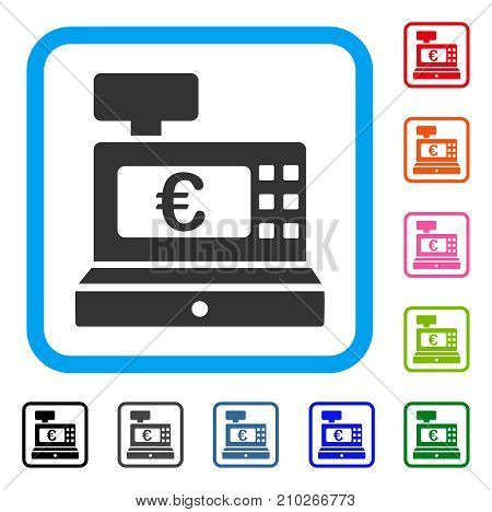 Euro Cashbox icon. Flat grey iconic symbol inside a light blue rounded rectangular frame. Black, gray, green, blue, red, orange color versions of Euro Cashbox vector.