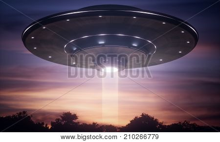 3D illustration. Spacecraft alien floating over the trees with tractor beam.