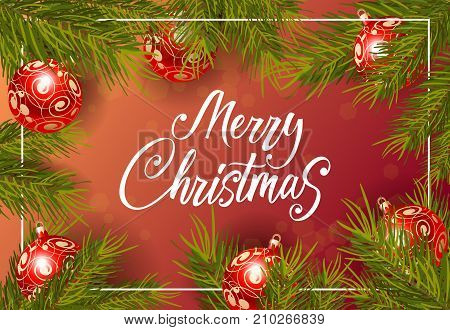Merry Christmas lettering. Creative inscription with red baubles on fir twigs. Handwritten text, calligraphy. Can be used for greeting cards, posters and leaflets