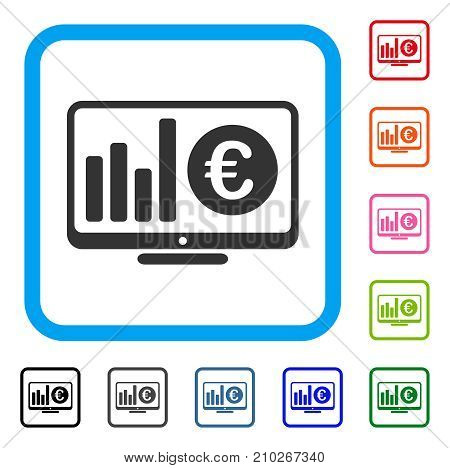 Euro Market Monitoring icon. Flat grey pictogram symbol inside a light blue rounded rectangle. Black, gray, green, blue, red, orange color versions of Euro Market Monitoring vector.