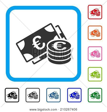 Euro Money icon. Flat grey iconic symbol inside a light blue rounded squared frame. Black, gray, green, blue, red, orange color variants of Euro Money vector.