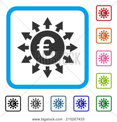 Euro Payments icon. Flat grey pictogram symbol inside a light blue rounded square. Black, gray, green, blue, red, orange color versions of Euro Payments vector. Designed for web and software UI.