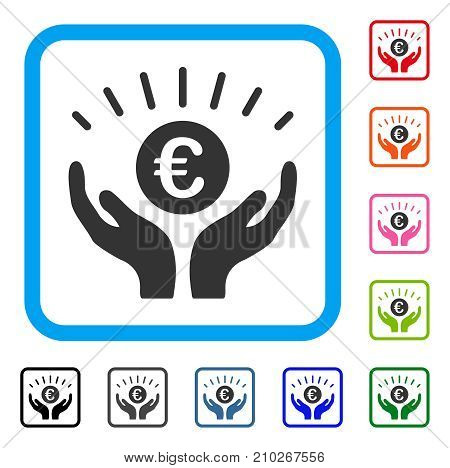 Euro Prosperity icon. Flat grey pictogram symbol in a light blue rounded squared frame. Black, gray, green, blue, red, orange color additional versions of Euro Prosperity vector.