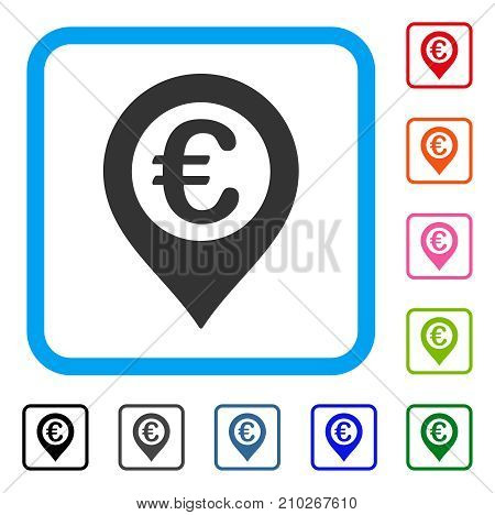 Euro Pushpin icon. Flat grey pictogram symbol in a light blue rounded rectangle. Black, gray, green, blue, red, orange color variants of Euro Pushpin vector. Designed for web and app interfaces.