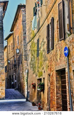 Street Of Historic Center Of Pienza In Tuscany, Italy