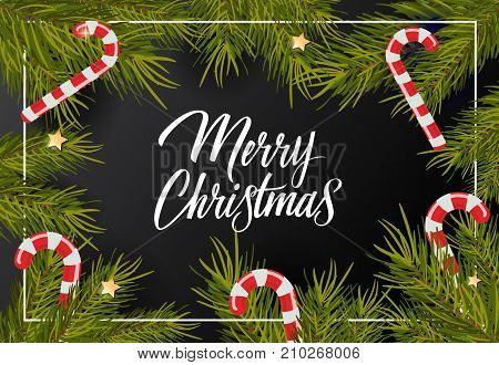 Merry Christmas lettering. Beautiful inscription with candy canes and branches. Handwritten text, calligraphy. Can be used for greeting cards, posters and leaflets