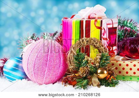 Christmas background with a blue ornament gift box snow