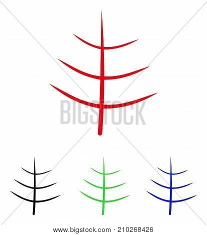 Bare Tree icon. Vector illustration style is a flat iconic bare tree symbol with black, red, green, blue color versions. Designed for web and software interfaces.