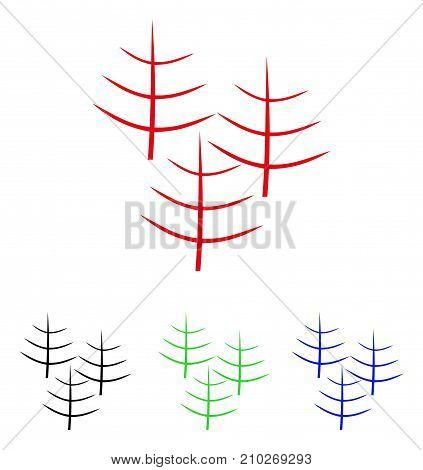 Dead Forest icon. Vector illustration style is a flat iconic dead forest symbol with black, red, green, blue color variants. Designed for web and software interfaces.