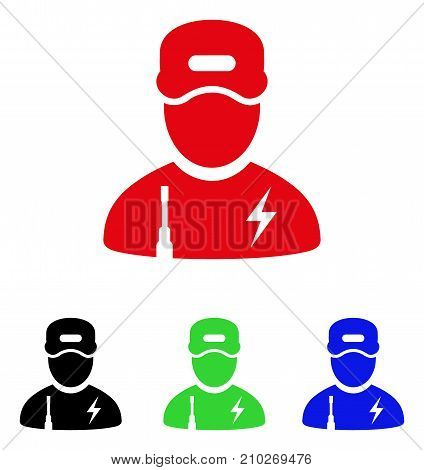 Electrician Boy icon. Vector illustration style is a flat iconic electrician boy symbol with black, red, green, blue color versions. Designed for web and software interfaces.