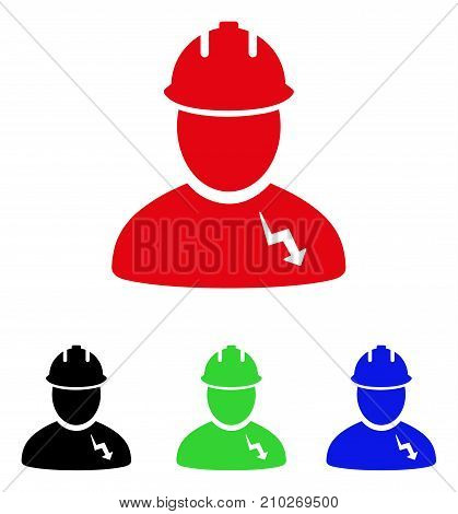 Electrician icon. Vector illustration style is a flat iconic electrician symbol with black, red, green, blue color versions. Designed for web and software interfaces.
