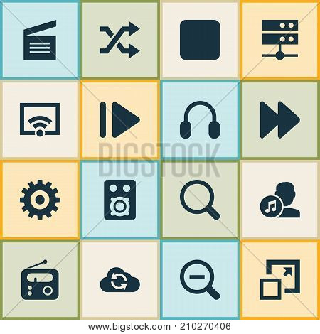Music Icons Set. Collection Of Maximize, Randomize, Magnifying Elements