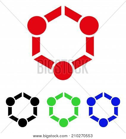 Human Union icon. Vector illustration style is a flat iconic human union symbol with black, red, green, blue color variants. Designed for web and software interfaces.