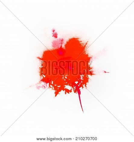 Watercolor Red color splash on white background