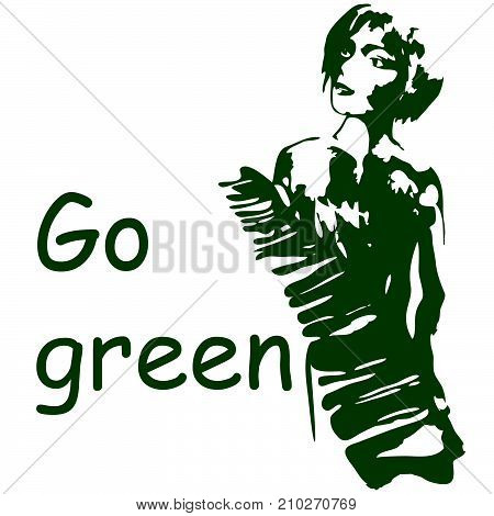 Silhouette of beautiful young woman with banana leaf. hand drawn illustration isolated. Go green