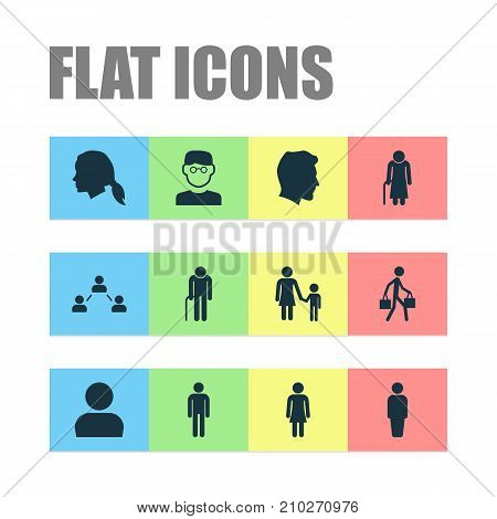 Human Icons Set. Collection Of Old Woman, Scientist, User And Other Elements