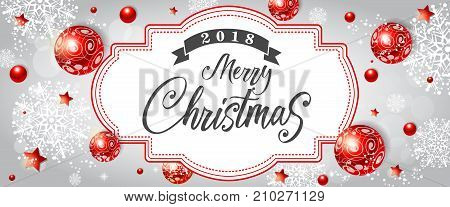 2018 Merry Christmas lettering. Beautiful inscription with red decor around. Handwritten text, calligraphy. Can be used for greeting cards, posters and leaflets