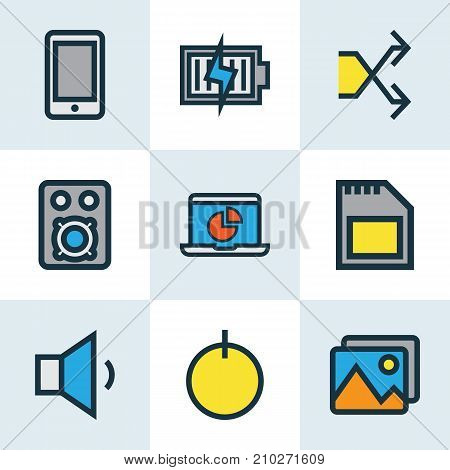 Media Colorful Outline Icons Set. Collection Of Volume Down, Randomize, Energy Elements