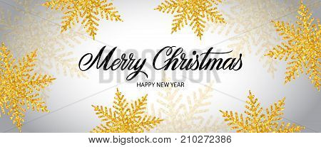 Merry Christmas and happy New Year lettering. Panoramic background with glitter golden snowflakes. Handwritten text, calligraphy. Can be used for greeting cards, posters and leaflets