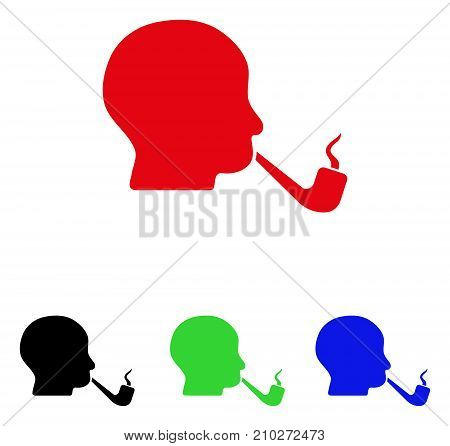 Smoking Detective icon. Vector illustration style is a flat iconic smoking detective symbol with black, red, green, blue color variants. Designed for web and software interfaces.